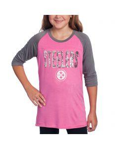 Pittsburgh Steelers Girls New Era Raglan Pink T-Shirt