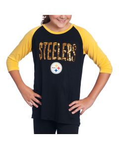Pittsburgh Steelers Girls New Era Raglan Black T-Shirt