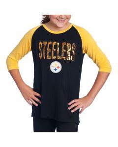 Pittsburgh Steelers Girls New Era Raglan Black T-Shirt