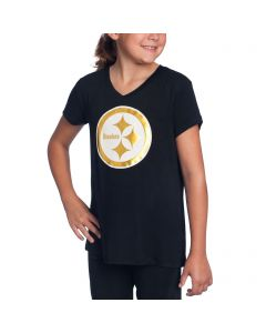Pittsburgh Steelers Girl's 5th & Ocean by New Era Logo Short Sleeve T-Shirt