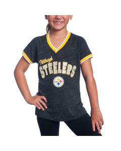 Pittsburgh Steelers Girl's New Era Triblend Short Sleeve T-Shirt
