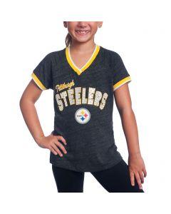 Pittsburgh Steelers Girl's New Era Triblend Short Sleeve T-Shirt