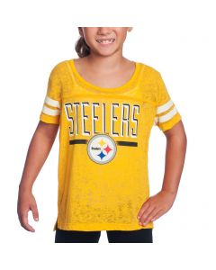 Pittsburgh Steelers Girls Big Stack Yellow Short Sleeve T-Shirt