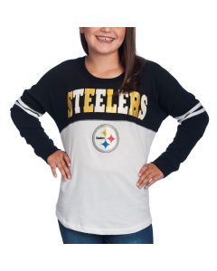 Pittsburgh Steelers Girls New Era Sleeve Stripe Long Sleeve T-Shirt
