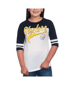 Pittsburgh Steelers Girls 5th & Ocean by New Era Space Dye Short Sleeve T-Shirt