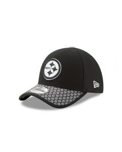 Pittsburgh Steelers New Era 39THIRTY Black and White Sideline Cap