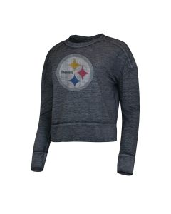 Pittsburgh Steelers Women's Surge Long Sleeve Grey Crewneck