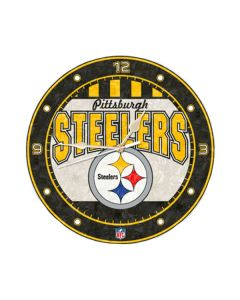 Pittsburgh Steelers Arched Logo Art Glass Clock
