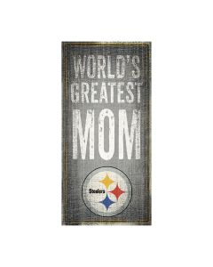 Pittsburgh Steelers World's Greatest Mom 6x12 Wood Sign