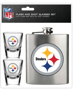 Pittsburgh Steelers Flask and Shot Glasses Set