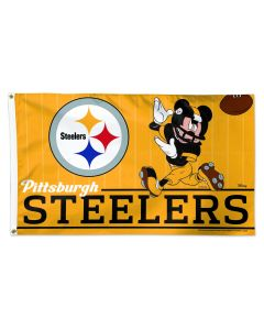 Pittsburgh Steelers Deluxe Steel City Mickey 3x5 Flag