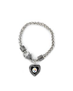 Pittsburgh Steelers Charmed Heart Bracelet
