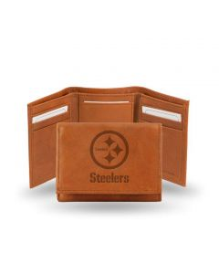 Pittsburgh Steelers Trifold Genuine Leather Embossed Logo Wallet - Brown