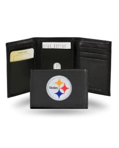 Pittsburgh Steelers Trifold Genuine Leather Embroidered Logo Wallet - Black