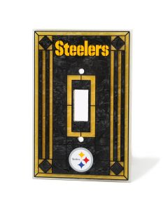 Pittsburgh Steelers Glass Art Single Light Switch Cover