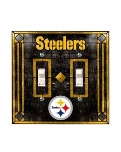 Pittsburgh Steelers Art Glass Double Switch Cover