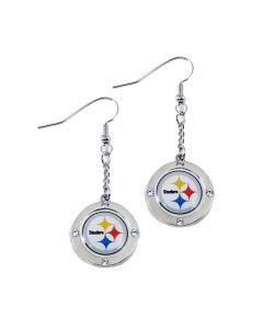 Pittsburgh Steelers Round Crystal Dangler Earrings