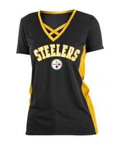 Pittsburgh Steelers Women's New Era Short Sleeve Mesh Crossneck T-Shirt