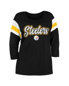 Pittsburgh Steelers Women's Plus Size Sleeve Stripe 3/4 Sleeve T-Shirt