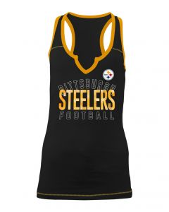 Pittsburgh Steelers Women's New Era Sequin Notch Neck Tank