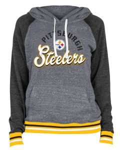 Pittsburgh Steelers Women's New Era Tri-Blend Team Trim Fleece Hoodie