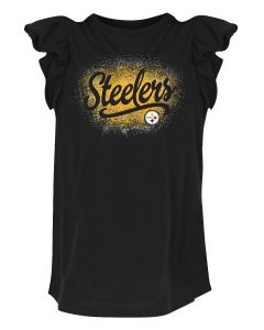 Pittsburgh Steelers Girls' Sparkle Ruffle Short Sleeve T-Shirt