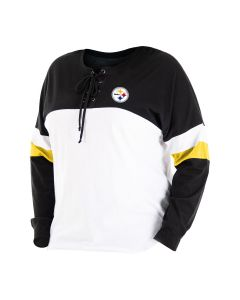 Pittsburgh Steelers Women's Plus Lace Up Spirit Jersey Long Sleeve T-Shirt
