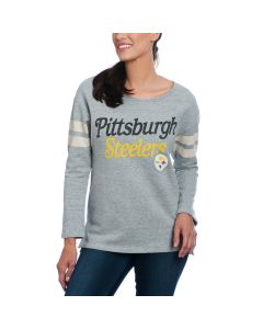 Pittsburgh Steelers Women's Junk Food Heather Grey Champion Crew Neck Fleece