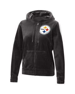 Pittsburgh Steelers Women's Plus Size Laid Black Velour Hoodie