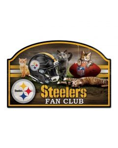 Pittsburgh Steelers Kittens Fan Club Wood Sign