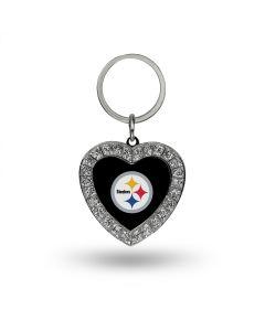 Pittsburgh Steelers Rhinestone Heart Keychain