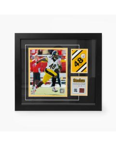 Pittsburgh Steelers #48 Bud Dupree Framed Away Photo with a piece of Game-Used Football