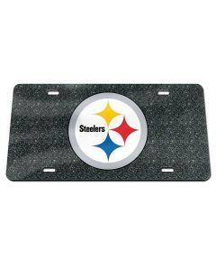 Pittsburgh Steelers Black Glitter License Plate