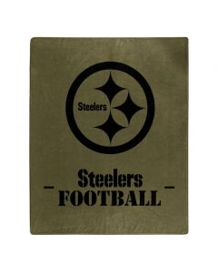 Pittsburgh Steelers Stencil Logo Olive Green Blanket