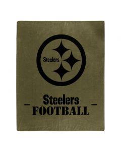 Pittsburgh Steelers Stencil Logo Olive Green Blanket