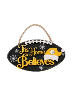 """Pittsburgh Steelers """"This Home Believes"""" Ornament"""