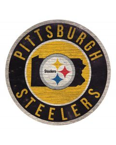 Pittsburgh Steelers Circle State PA and Logo Wood Sign