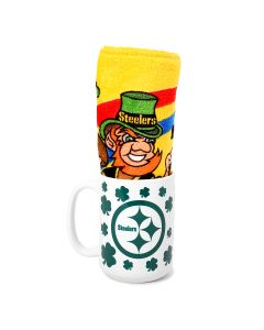 Pittsburgh Steelers Shamrock Mug and St. Patrick's Day Terrible Towel Combo