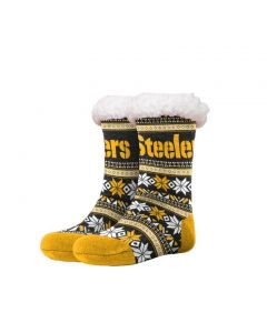 Pittsburgh Steelers Fair Isle Tall Footy Slipper Socks