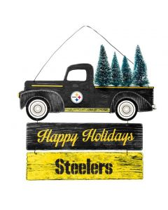 Pittsburgh Steelers Truck with Trees Happy Holidays Wooden Sign
