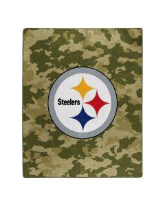 Pittsburgh Steelers 50x60 in. Olive Camo Raschel Blanket