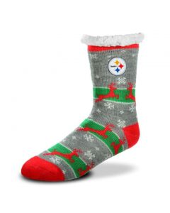 Pittsburgh Steelers Reindeer Run Tall Footy Slipper Socks