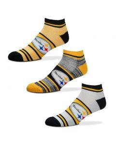 Pittsburgh Steelers No Show Triplex Heathered Socks - 3 pack
