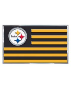 Pittsburgh Steelers Metal Striped Flag Auto Emblem