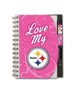 Pittsburgh Steelers Hardcover Pink Notebook w/ Grip Pen Set