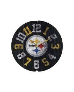 Pittsburgh Steelers Vintage Wood Round Clock