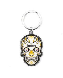 Pittsburgh Steelers Sugar Skull Keychain