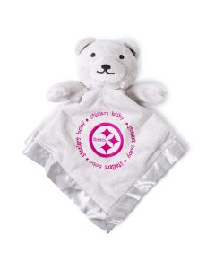 Pittsburgh Steelers Bear with Pink Logo Security Blanket
