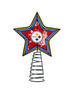 Pittsburgh Steelers Light Up Art Glass Mosaic Tree Topper