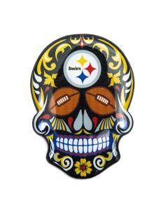 """Pittsburgh Steelers 3"""" Sugar Skull Magnet"""